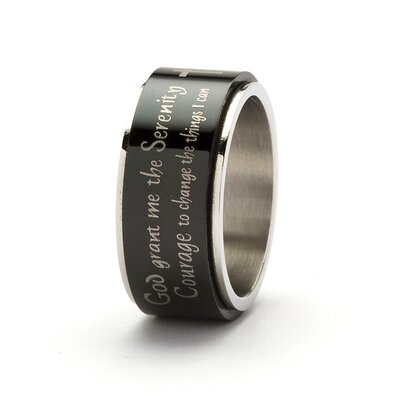 Palm Beach Jewelry Men's Black Ion-Plated Serenity Prayer Cross Band Ring