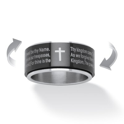 Lord'S Prayer Black Iron Plate Spinner Ring