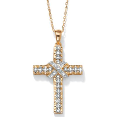 18k Gold Over Silver Diamond Accent Pendant