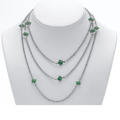 Silvertone Birthstone Station Necklace