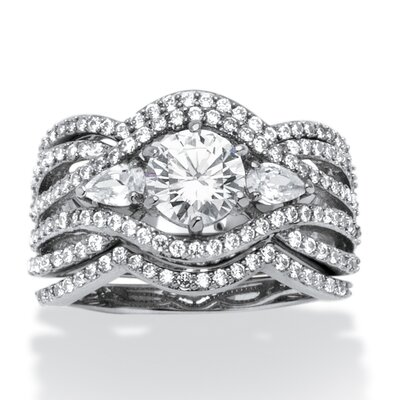 Platinum Over Silver Pear Cut Cubic Zirconia Ring Set