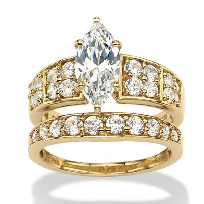 18k Gold Over Silver Marquise Cut Cubic Zirconia Bridal Ring Set