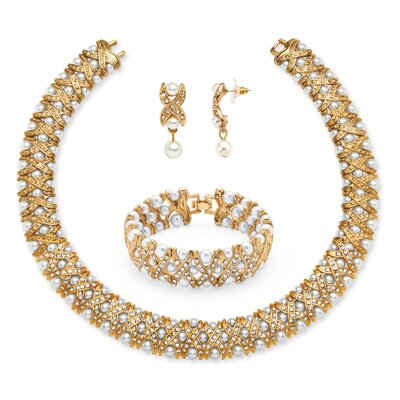 3 Piece Goldtone Crystal Jewelry Set