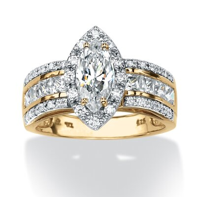 18k Gold Over Silver Marquise Cut Cubic Zirconia Ring