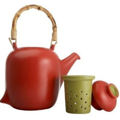 Signature Housewares Red Teapot with Bamboo Handle and Infuser