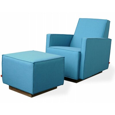 Gus Modern Kipling Glider Arm Chair and Ottoman