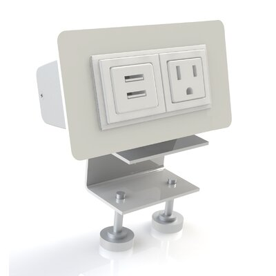 Scale 1:1 EYHOV Rail Desktop Mounted Power Unit with 1 Outlet and 2 USB Ports ...