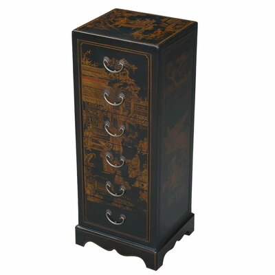 EXP Décor Handmade Leather 6 Drawer Accent / Hall Table