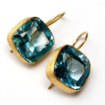 Blue Topaz 18K Gold Plated Sterling Silver Earrings