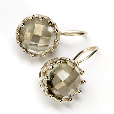 Sitara Jewelry Green Amethyst Round Gemstone Sterling Silver Earrings