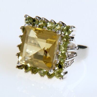 Sterling Silver Lemon Topaz and Peridot Ring