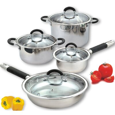 Cook N Home 8 Piece Stainless Steel Cookware Set