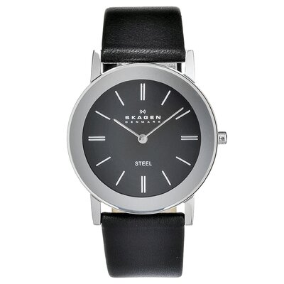 Skagen Leather Unisex's Crystal Watch