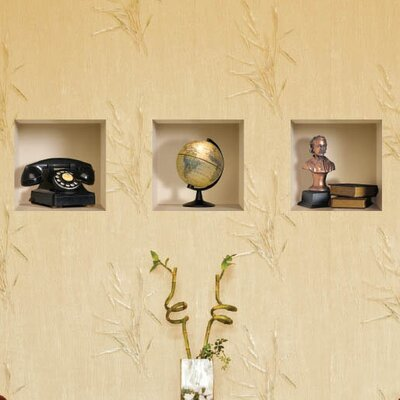 3D Effect Phone / Globe / Bust / Book Wall Decal (3-Piece Set)