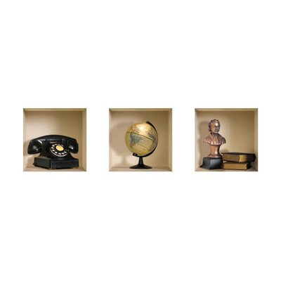 3D Effect Phone / Globe / Bust / Book Wall Decals