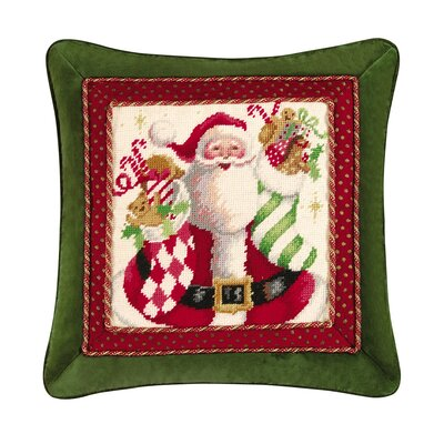 C & F Enterprises Mr. Claus with Stocking Needlepoint Pillow