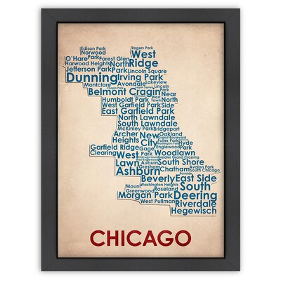 Typography Maps Chicago Poster