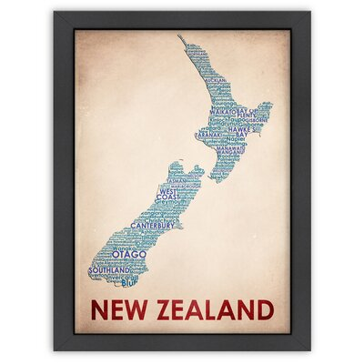 Typography Maps New Zealand Poster