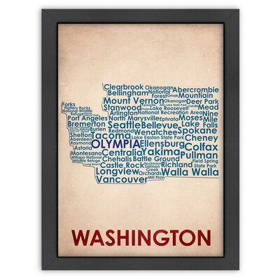 Typography Maps Washington Poster