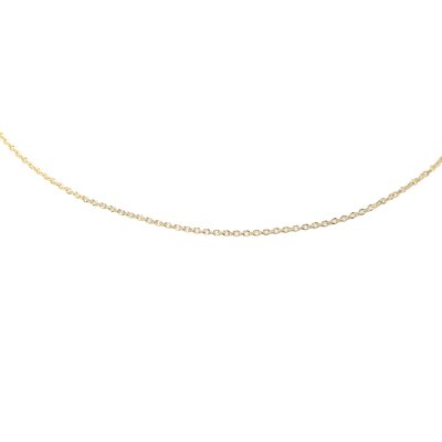 Jewelryweb 14k .6mm Solid Polished Cable Chain Anklet - Spring Ring