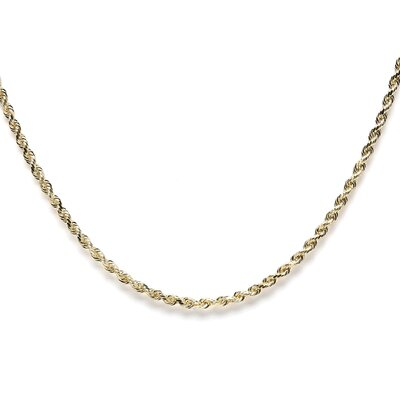 <strong>Jewelryweb</strong> 14k Yellow Gold D/C Rope Chain Necklace