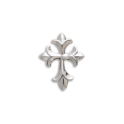 Jewelryweb Rhodium Plated Fleur-de-lis Design Cross Slide Measures 28x22mmCharm