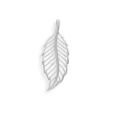Jewelryweb Textured and Polished Sterling Silver Cut Out Leaf Design Slide Measures 52mmX 20mmCharm