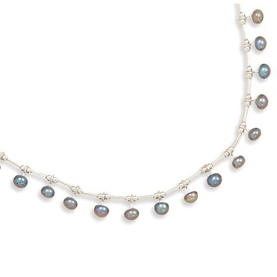 Jewelryweb Sterling Silver 16 Inch Liquid Silver With 15 Freshwater Cultured Pearls Necklace