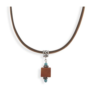 Jewelryweb Sterling Silver 16 Inch+2 Inch Extention Leather Necklace With Turquoise and Square Sponge Coral
