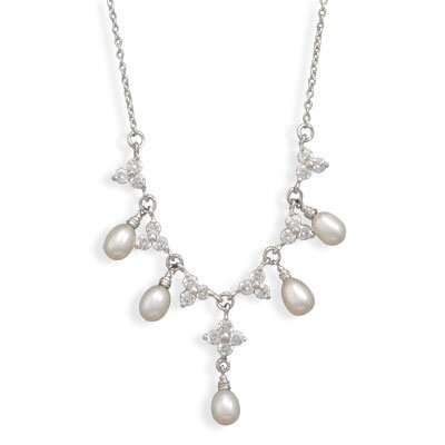 Jewelryweb 16 Inch+2 Inch Extention Rhodium Plated CZ Flower and Cultured Freshwater Pearl Necklace