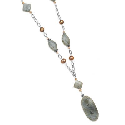 Sterling Silver 28 Inch Labradorite Cultured Freshwater Pearl and Crystal Necklace