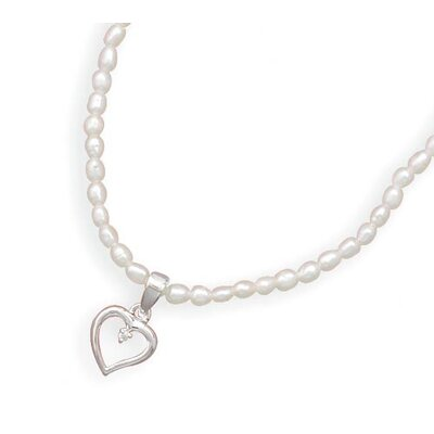 Jewelryweb Sterling Silver 14 Inch+1 InchExtention Freshwater Cultured Pearl Necklace With Heart CZ Pendant