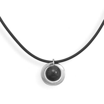 16 Inch+ 2 Inch Extention 2mmBlack Rubber Necklace 18mmSterling Silver Black Onyx Bead Pendant