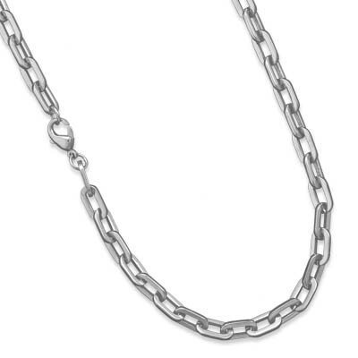 22 Inch316l Stainless Steel Oval Link Necklace Lobster Clasp Closure.