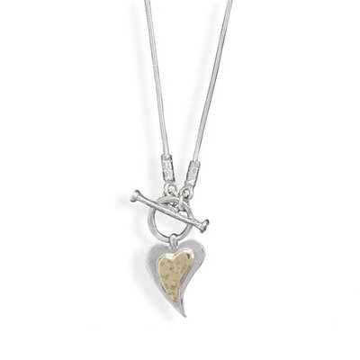 Jewelryweb 16.75 InchSterling Silver Toggle Necklace a 20mmX 14mm14 Karat Yellow Gold Sterling Silver Heart