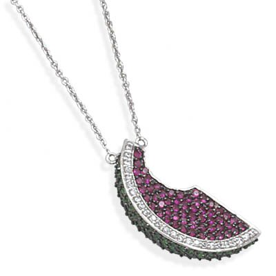 Jewelryweb 17 Inch+1.5 InchExtention Rhodium Plated Necklace With CZ Pendant