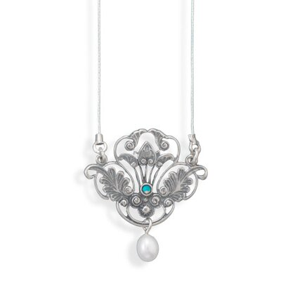 Jewelryweb 18 In Oxidized Ss Necklc Ornate Victorian Style Pendant 2.5mmOpal a 5.5mmX 8mm Freshwater Cultured Pearl Drop