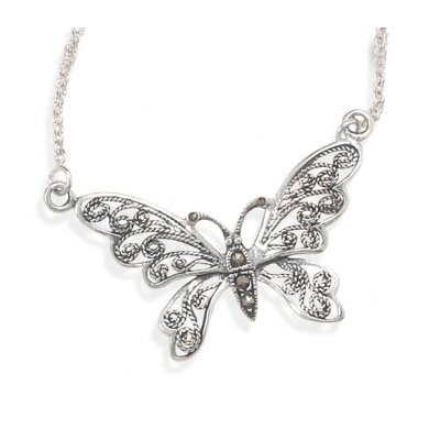 Jewelryweb 16 InchOxidized Sterling Silver Necklace Marcasite Butterfly The Butterfly Measures 22mmX 38mm