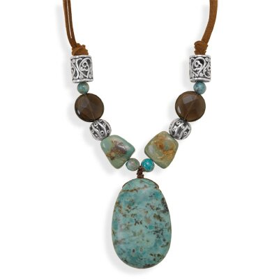 Jewelryweb Sterling Silver 16 Inch+2 InchTurquoise and Quartz Cord Necklace