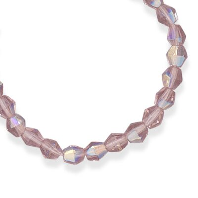 Sterling Silver 13 Inch+ 2 InchExtention Pink CZech Glass Bead Necklace - 13 Inch