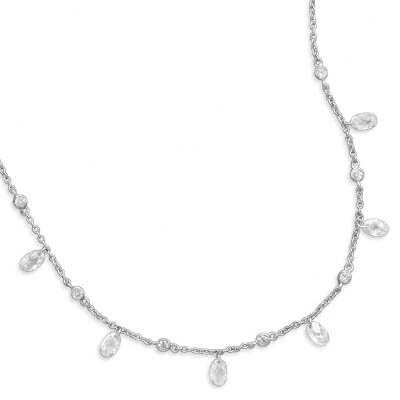 Jewelryweb 16 Inch+1 InchExtention Rhodium Plated Bezel and Oval Faceted CZ Necklace - 16 Inch