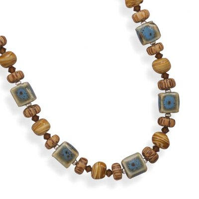 Jewelryweb Sterling Silver 17 Inch+2 InchExtention Glass and Wood Bead Necklace - 17 Inch