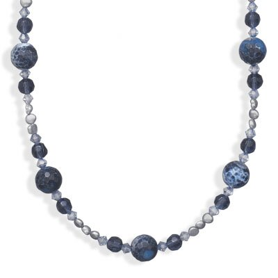 Jewelryweb Sterling Silver 16 Inch+2 InchBlue Fire Agate and Freshwater Cultured Pearl Necklace - 16 Inch