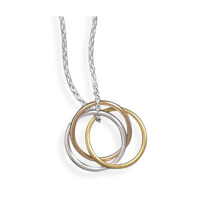 Sterling Silver 16 InchNecklace With Tri Tone Rings