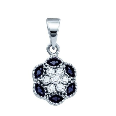 Jewelryweb 10k White Gold 0.20 Dwt Diamond Flower Pendant