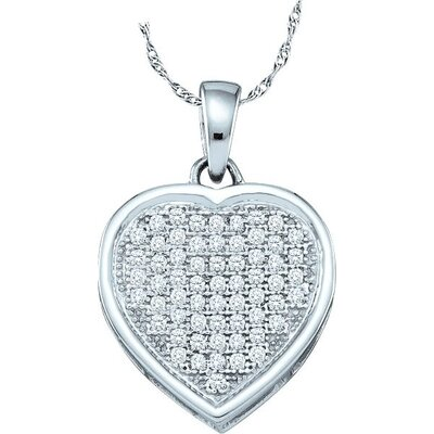 Jewelryweb 10k White Gold 0.20 Dwt Diamond Heart Pendant