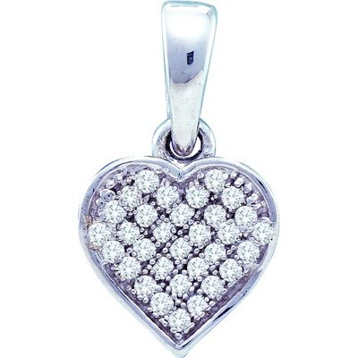 Jewelryweb Sterling Silver 0.10 Dwt Diamond Heart Pendant