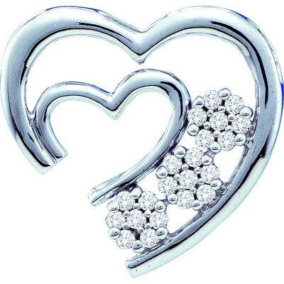 Jewelryweb 10k White Gold 0.07 Dwt Diamond Heart Pendant