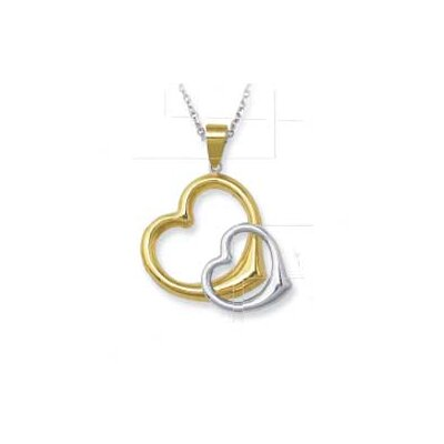 Sterling Silver and 14k Entwined Heart Pendant- 18 Inch