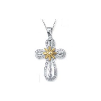 Jewelryweb Sterling Silver and 14k Yellow Cross Pendant- 18 Inch